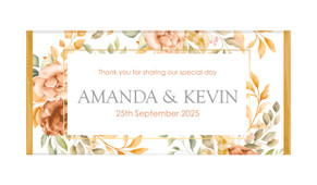 Peach And Bronze Floral Personalised Chocolate Bar
