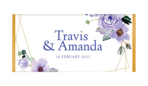 Violets On Gold Frame Personalised Chocolate Bar