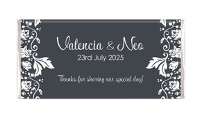 Classic Grey Floral Personalised Chocolate Bar