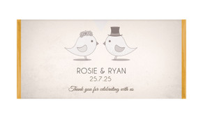 Sepia Love Birds Personalised Chocolate Bar