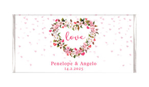 Heart Shaped Floral Personalised Chocolate Bar