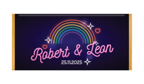 Neon Rainbow Personalised Chocolate Bar