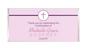 Cross On Pink Confirmation Personalised Chocolates