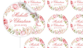 Classic Rose Border Large Circle Stickers - Set Of 12