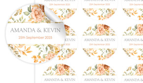 Peach And Bronze Floral Large Circle Stickers - Set Of 12