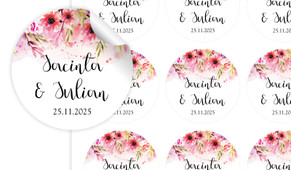 Cascading Flowers Large Circle Stickers - Set Of 12