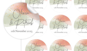 Sage And Blush Confetti Large Circle Stickers - Set Of 12