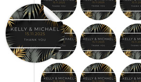 Contemporary Palms Large Circle Stickers - Set Of 12