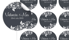 Classic Grey Floral Large Circle Stickers - Set Of 12