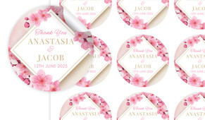 Diamond On Cherry Blossom Large Circle Stickers - Set Of 12