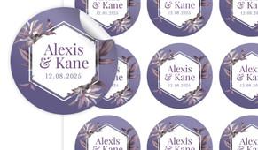 Hexagon On Aubergine Large Circle Stickers - Set Of 12