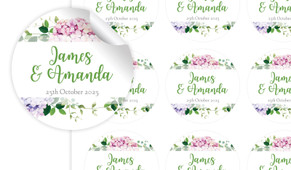 Hydrangea Large Circle Stickers - Set Of 12