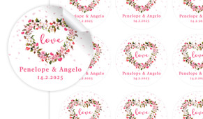 Heart Shaped Floral Large Circle Stickers - Set Of 12