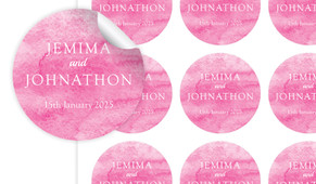 Pink Ombre Large Circle Stickers - Set Of 12