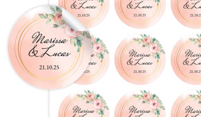 Gold Rings On Peach Large Circle Stickers - Set Of 12