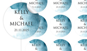 Blue Shade Large Circle Stickers - Set Of 12