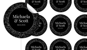 Silver Star Confetti Large Circle Stickers - Set Of 12