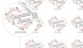 Heart Frame Large Circle Stickers - Set Of 12