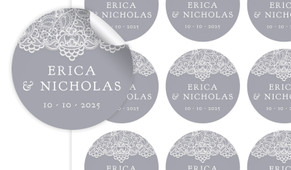 Vintage Lace Large Circle Stickers - Set Of 12