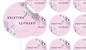 Vintage Pink Large Circle Stickers - Set Of 12