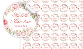Classic Rose Border Small Circle Stickers - Set Of 70