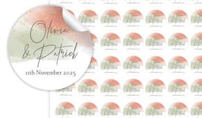 Sage And Blush Confetti Small Circle Stickers - Set Of 70