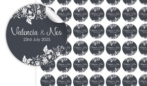 Classic Grey Floral Small Circle Stickers - Set Of 70