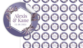 Hexagon On Aubergine Small Circle Stickers - Set Of 70