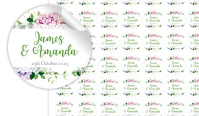 Hydrangea Small Circle Stickers - Set Of 70