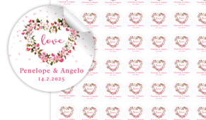 Heart Shaped Floral Small Circle Stickers - Set Of 70