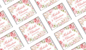 Classic Rose Border Wedding Personalised Mini Chocolates