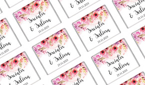 Cascading Flowers Wedding Personalised Mini Chocolates