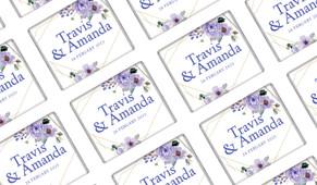 Violets On Gold Frame Wedding Personalised Mini Chocolates