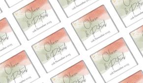 Sage And Blush Confetti Wedding Personalised Mini Chocolates