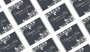 Classic Grey Floral Wedding Personalised Mini Chocolates