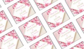 Diamond On Cherry Blossom Wedding Personalised Mini Chocolates