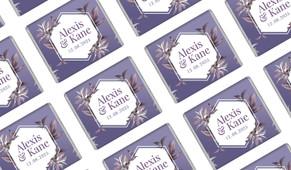 Hexagon On Aubergine Wedding Personalised Mini Chocolates