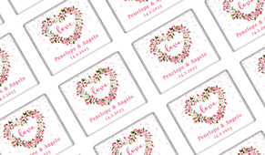 Heart Shaped Floral Wedding Personalised Mini Chocolates