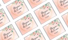 Gold Rings On Peach Wedding Personalised Mini Chocolates