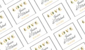 L-O-V-E Flowers Wedding Personalised Mini Chocolates