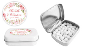 Classic Rose Border Wedding Personalised Mint Tin