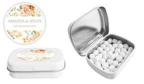 Peach And Bronze Floral Wedding Personalised Mint Tin