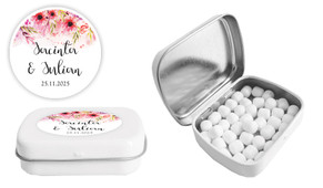 Cascading Flowers Wedding Personalised Mint Tin