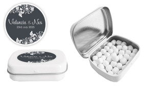 Classic Grey Floral Wedding Personalised Mint Tin