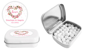 Heart Shaped Floral Wedding Personalised Mint Tin