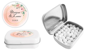 Gold Rings On Peach Wedding Personalised Mint Tin