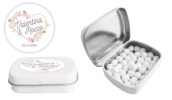 Heart Frame Wedding Personalised Mint Tin