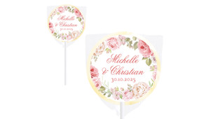 Classic Rose Border Wedding Personalised Lollipops