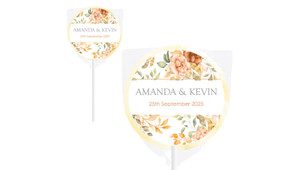 Peach And Bronze Floral Wedding Personalised Lollipops