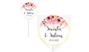 Cascading Flowers Wedding Personalised Lollipops